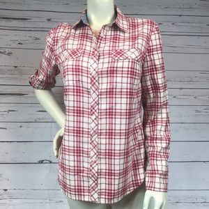 Talbots Shimmer Plaid Button Up Size 6
